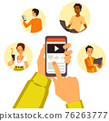 People reading and sharing of news and messages online using internet. 76263777