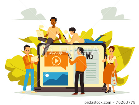 Banner with people searching news online, flat vector illustration isolated. 76263779