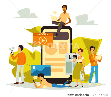 Online news and information internet sources, flat vector illustration isolated. 76263780