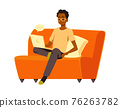 Man working on laptop sitting on armchair flat vector illustration isolated. 76263782