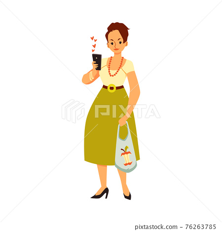 Woman with phone getting likes from chat, flat vector illustration isolated. 76263785