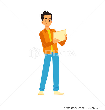 Young man standing using tablet, flat vector illustration isolated on white. 76263786