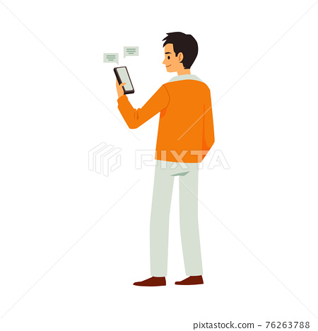 Young modern man standing with mobile phone, flat vector illustration isolated. 76263788