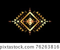 Gold Mexican Aztec tribal traditional geometric metallic logo design isolated on black background. Sacred Alchemy elements, esoteric bohemian sacred geometry. Magic indian tribal vector illustration 76263816