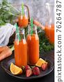 Carrot strawberry orange juice 76264787