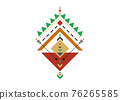 Colorful Mexican Aztec tribal traditional geometric logo design isolated on white background. Sacred Alchemy elements, esoteric bohemian sacred geometry. Magic indian tribal vector illustration 76265585