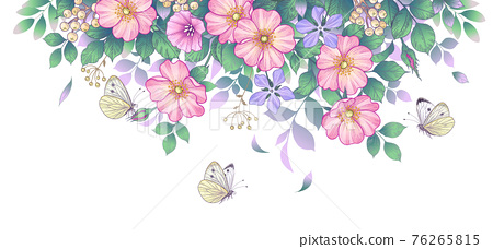 Hand Drawn  Wild Flowers  and  Flying Butterflies 76265815