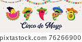 Cinco de Mayo - May 5, federal holiday in Mexico. Fun, cute characters as chilli pepper, avocado 76266900
