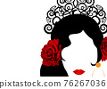 Beautiful Spanish or Latin woman silhouette whit red rose flowers and ethnic hair comb. Beauty Logo Template. Flamenco dancer girl portrait. Vector Company Name, isolated on white background 76267036