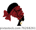 portrait beautiful African woman in traditional turban handmade tribal motif, Kente head wrap African with ethnic earrings, black women Afro curly hair, vector silhouette isolated on white background 76268261