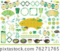 Fresh green Japanese material illustration set 2 / no characters 76271765