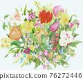 色彩豐富的花卉素材組合和設計元素 76272446