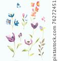 色彩豐富的花卉素材組合和設計元素 76272451