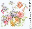 色彩豐富的花卉素材組合和設計元素 76272452