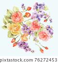 色彩豐富的花卉素材組合和設計元素 76272453