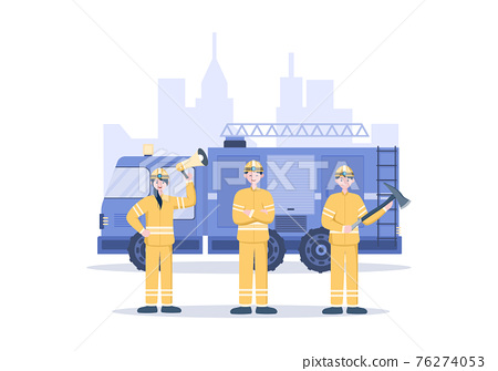 Firefighters With House Fire Engines, Helping People and Animal, Using Rescue Equipment in Various Situations. Vector Illustration 76274053