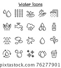 Water line icon set in thin line style 76277901