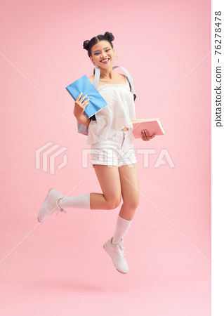 Portrait of sweet cute girlish high school girl ready for university seminar lecture 76278478