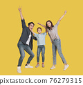 Asian  family  child standing embracing smiling 76279315