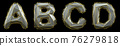 Letter set A, B, C, D made of realistic 3d render silver color. Collection of gold low polly style 76279818