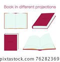 Red book in different projections. Vector open and close books in various positions. Study, library and education isolated icons in a flat style 76282369