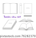 Books linear sketch symbols collection in different positions. Vector opened and closed books isolated icons set on white background. Library and bookstore elements in a flat style 76282370