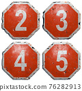 Set of numbers 2, 3, 4, 5 made of public road sign in red and white with a capital in the center isolated on white background. 3d 76282913