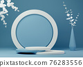 Abstract geometric shape blue and white colors minimalistic scene with podium 76283556