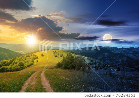 day and night time change concept above road through meadow in mountains. beautiful rural landscape of carpathians with sun and moon. wonderful summer weather with fluffy clouds on the sky 76284353