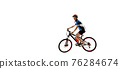 Young Caucasian boy bike rider with road bike isolated over white background. 76284674