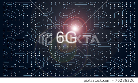 Data processing in circuit board abstract server. Technology Background CPU Circuit concept.  Data moves in the form of moving lines. 6G Visualization AI Processor Power. Blue Digitalization Process. 76286226