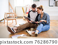 Mid adults couple planning with tablet indoors at home, relocation and diy concept. 76286790