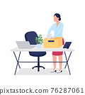 Fired woman collecting stuff flat color vector faceless character 76287061