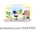 Workplace desk with box of stationery 2D vector web banner, poster 76287063