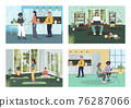 Corporate wellness flat color vector illustration set 76287066