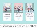 Workout in workplace onboarding mobile app screen flat vector template 76287071