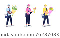 Couriers in mask and gloves with flowers flat color vector detailed character set 76287083