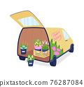 Flower delivery auto with opened trunk flat color vector object 76287084