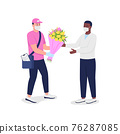 Delivery man in mask and gloves with customer flat color vector detailed characters 76287085