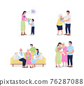 Mothers day flat color vector detailed character set 76287088