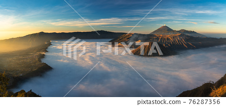 Bromo volcano mountain at sunrise in East Java, Indonesia surrounded by morning fog. 76287356