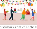 Different people carrying surprise gift box for present 76287610