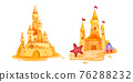 Sand castle vector illustration, summer beach game isolated cartoon concept, tower, crab, starfish 76288232
