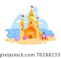 Sand castle vector illustration, summer beach cartoon landscape, towers, crab, shell, flag, clouds 76288233