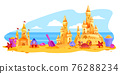 Sand castle vector summer beach landscape, towers, bucket, shovel, sky, ocean, clouds on background 76288234
