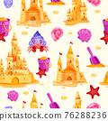 Sand castle vector summer vacation beach seamless pattern, shell, bucket, crab, shovel, towers 76288236