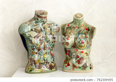 Colorful vintage mannequin busts with decoupage decoration 76289495