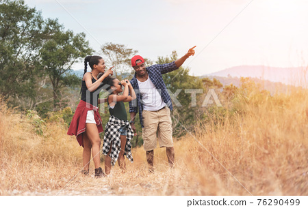 Beautiful Black African family travelling 76290499