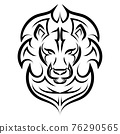 Black and white line art of the front of the lion's head.  It is sign of leo zodiac. Good use for symbol, mascot, icon, avatar, tattoo, T Shirt design, logo or any design you want. 76290565