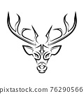 Black and white line art of deer head. Good use for symbol, mascot, icon, avatar, tattoo, T Shirt design, logo or any design you want. 76290566